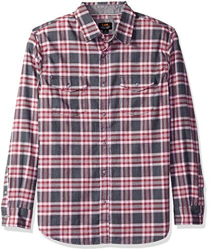 Lee Herren Long Sleeve Woven Button Down Hemd, Stellan Ebony, X-Groß - Lee Langarm Kleid Shirt