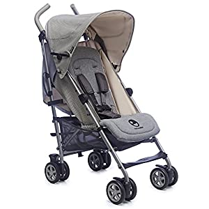 Easywalker Buggy Milano Melange  Rear seat suitable from birth  and front seat suitable from 6 months Rear seat multi position recline, to lie flat and front seat has 2 position recline. removable, adjustable rear hood with viewing window and mesh ventilation/viewing 2