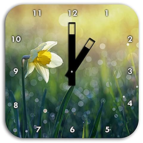 Narcissus flower in the morning sun, wall clock diameter 28cm with black square hands and face, decoration items, Designuhr, aluminum composite very nice for living room,