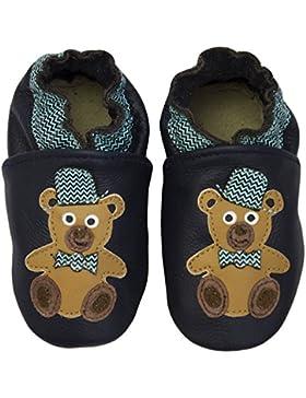 Rose & Chocolat RCC Chaplin Bear - Patucos de Cuero para Niño