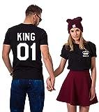 King Queen Paare T-Shirts Baumwolle schwarz weiß Lustige Partner Look Tees für Liebhaber – König Königin Pärchen Shirt 2 Stücke (Schwarz + Schwarz, King-M+Queen-M)