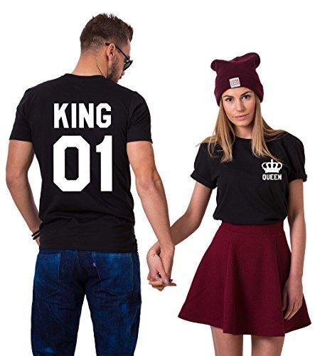 King Queen Paare T-Shirts Baumwolle schwarz weiß Lustige Partner Look Tees für Liebhaber – König Königin Pärchen Shirt 2 Stücke (Schwarz + Schwarz, King-M+Queen-S)