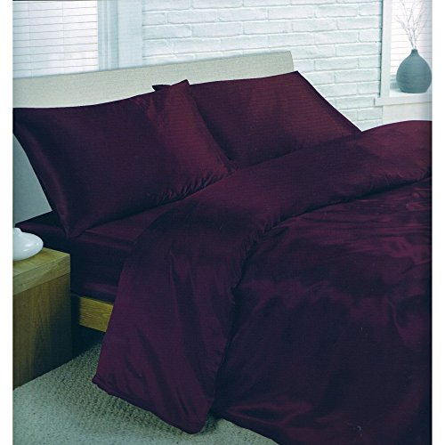 Ensemble de literie en satin - parure de lit et drap housse (Lit double) (Violet)
