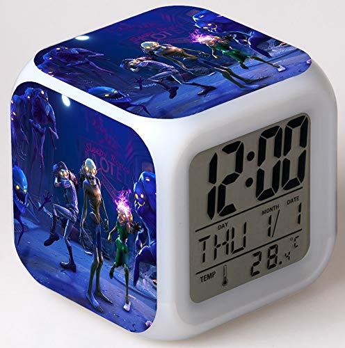 7colores LED reloj despertador para parte amantes con Touch de luz nocturna, función de repetición, pantalla LCD de visualización de tiempo, fecha, Temperatura Digital Clock regalo de cumpleaños