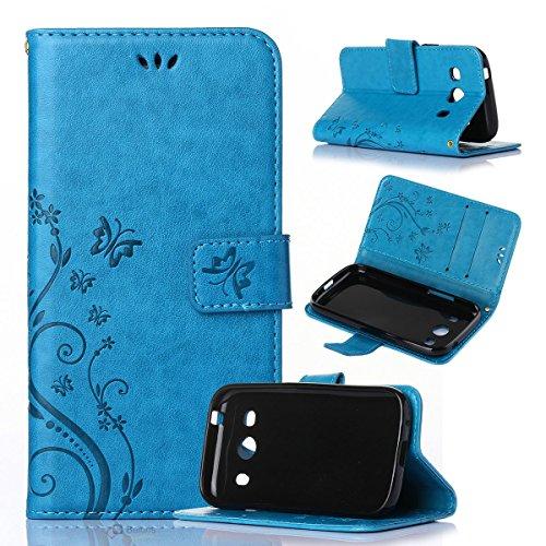 Beiuns Custodia in Pelle PU per Samsung SM-G357 Galaxy Ace 4 4G/LTE (4,3 Pollici) Custodie e Cover - R149 Blu Classic