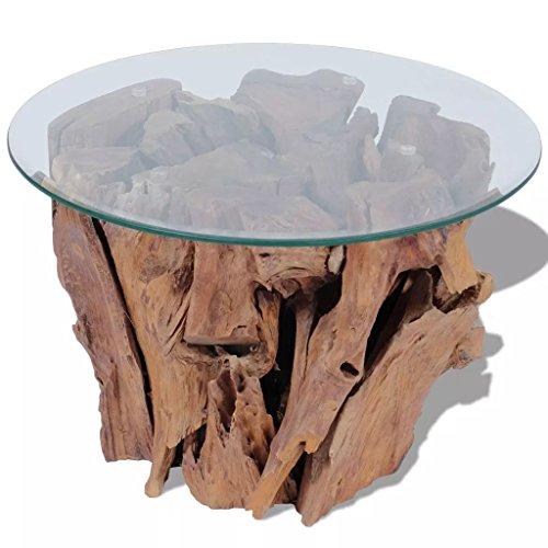 vidaXL Table basse Teck massif 50 cm