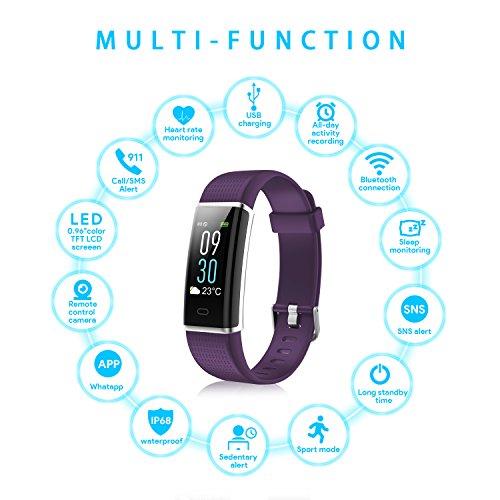 Pulsera Actividad Inteligente con Pantalla Táctil Color 0.96   OLED  NAIXUES Reloj Inteligente Pulsómetro para Hombre y Mujer Impermeable IP68 14 Modos de Deporte/Pulsera de Actividad Monitor de Frecuencia Cardiáco para IOS y Android (color Púrpura)