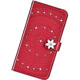 Funda Compatible con Sony Xperia Xperia 1/XZ4,Cuero Bling Diamante Flor Mandala Carcasa Case Estampado PU Flip Billetera Ranura para Tarjeta Cierre Magnético Protectora Función de Soporte Bumper,Rojo