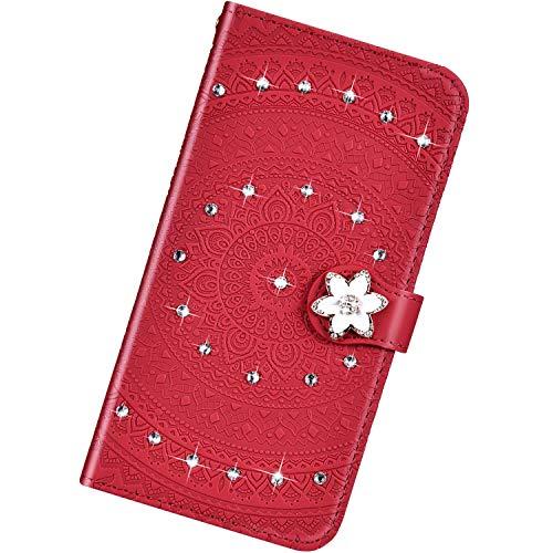 Urhause Kompatibel mit Huawei P10,Mandala Prägung Glitzer Ledertasche PU Flipcase Handytasche Ständer Mit Magnetverschluss Schlüsselband Schutzhülle,rot