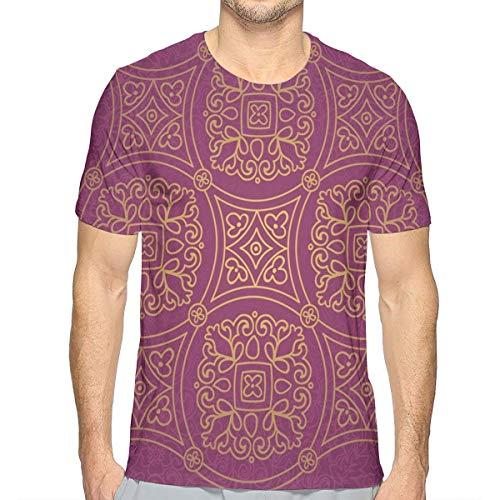 3D Printed T Shirts,Persian Ornamental Lace Pattern Traditonal Authentic Arabic Folkloric Boho Design XXL -