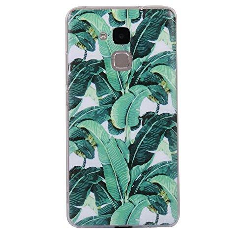 Preisvergleich Produktbild Honor 5C Hülle,  Anlike Huawei Honor 5C (5, 2 Zoll) Handy Hülle [Bunte Muster Design] Schutzhülle Etui Bumper für Huawei Honor 5C (5, 2 Zoll) - Grüne Blätter