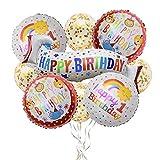 Xinlie 9 Stück Happy Birthday Girlande Alles Gute zum Geburtstag Banner 1. Geburtstag Geburtstagsdeko Geburtstag Party Dekoration Einschließlich Konfetti Ballons Folie Ballons Und 10 M Luftschlangen