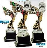 Trophäe Musik Mikrofon für Wettbewerb CANORO oder Karaoke–H 25,5cm–frisch–Made in Italy