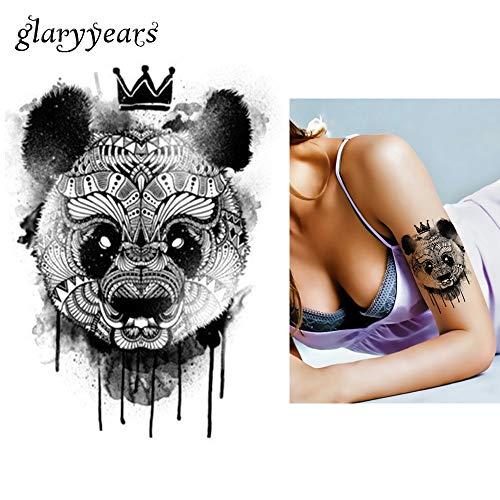 tzxdbh 5 Stücke Schwarz Aufkleber wasserdichte Tattoo Panda König Muster Aufkleber Design Km-052 Coole Frauen Mann Inspiriert Körperkunst Temporäre