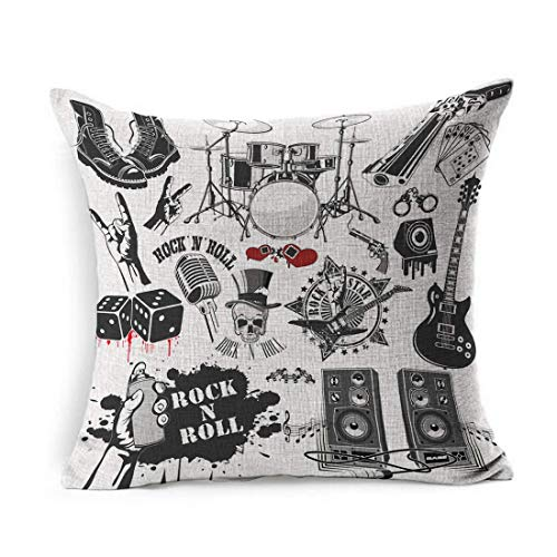 Leinen Dekokissen Abdeckung Square Sound Drum Verwandte Rock Roll Gitarre Gitarrist Musik Band Hand Electric Design Kissenbezug Home Decor Kissen Fall 18 x 18 Zoll