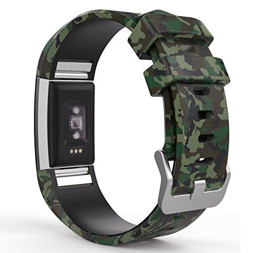 MoKo Fitbit Charge 2 Accesorios - [Rombo Serie] Correa Reemplazo de Silicona Suave Deportiva para Fitbit Charge 2 Pulsera de actividad física y ritmo cardiaco, Fits 145mm-210mm, Camuflaje Verde