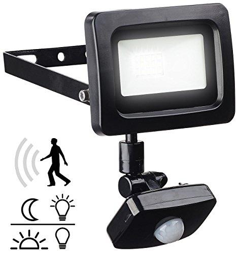 Luminea LED Aussenleuchten: Mini-LED-Fluter, PIR-Sensor, 10 Watt, 800 lm, tageslichtweiß, IP44 (Aussenlampe mit Bewegungsmelder) -