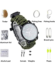 ZENDY 16 en 1 cuerda de Paracord con el reloj y el firestarter de la pulsera, silbido, compás, kit de la pesca, kit de supervivencia, herramientas al aire libre de múltiples funciones de la supervivencia (16 Función en 1, 9 tipos dentro de la cuerda de la pulsera) (Ejercito verde)