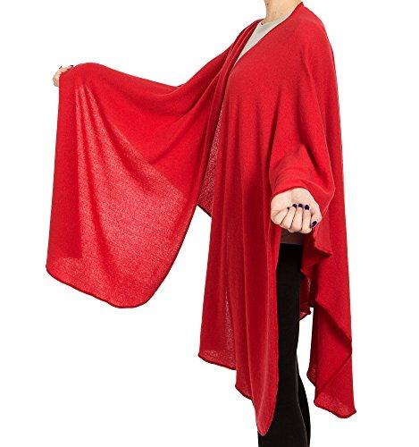 mantella ampia misto cashmere Rosso