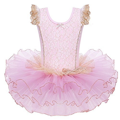 HUANQIUE Tutu Fille Ballet Robe Danse classique Enfant 3-7 Ans ROSE XXL