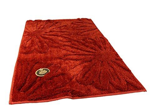 Gözze Badteppich, Mikrofaser Hochflorteppich, 70 x 120 cm, Blume, Rot, 1031-37-070120