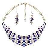 YAZILIND El Collar cristalino Mujeres Azul Rhinestone y del Pendiente de la Declaraci¨n Gargantilla Sistema de la joyer¨ªa del Collar