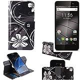 K-S-Trade Schutzhülle Gigaset GS160 Hülle 360° Wallet Case Schutz Hülle ''Flowers'' Smartphone Flip Cover Flipstyle Tasche Handyhülle schwarz-weiß 1x