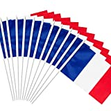 Anley France Stick Flag, French 5x8 inch (12 X 20cm) HandHeld Mini Flag With 12 (30cm) White Solid Pole - Vivid Color and Fade Resistant - 5 x 8 inch Hand Held Stick Flags With Spear Top (1 Dozen)