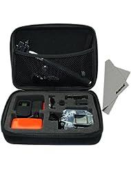 Aodoor boîte de rangement pour GoPro Hero caméra 4,3 +, 3, 2, 1 et accessoires - idéal pour Voyage ou à la maison de stockage - Protégez votre caméra GoPro - Inclut un chiffon de nettoyage en microfibre (Moyenne, Noir)