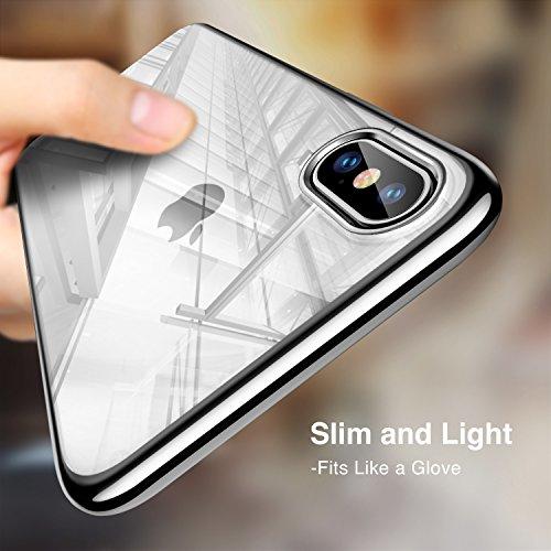 Coque iPhone X Silicone, ESR iPhone 10 Coque Transparente Silicone Gel TPU Souple avec Bumper Cadre Brillant Plaqué, Housse Etui de Protection Premium [Anti Choc] [Ultra Fine] [Ultra Léger] [Liquid Cr iPhone X cadre argent