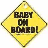 Safety 1st Scritta Bebe a Bordo con Ventosa, Baby on Board, Universale per Lunotto Posteriore Auto, Sfondo Giallo