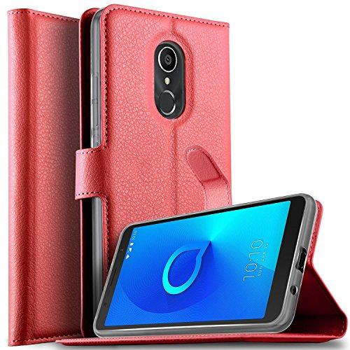 KuGi DOOGEE X6S Hülle, DOOGEE X6S Wallet Case, Brieftasche Case Hülle PU Kunstleder Flip Case mit Standfunktion Kartenfächer und Bargeld für DOOGEE X6S Smartphone.Rot