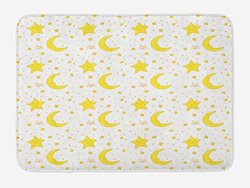 (ZKHTO Yellow and White Bath Mat, Sleeping Crescent Moon and Stars Pattern Night Time Cartoon Illustration, Plush Bathroom Decor Mat with Non Slip Backing, 23.6 W X 15.7 W Inches, Yellow White)