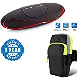 #10: Apple iPhone 7 Plus Compatible Certified Portable Rugby Shape Bluetooth Speakers Music Everywhere Mini Wireless Bluetooth Subwoofer With Sports Armband Double Pockets Multifunctional Outdoor Arm Bag (1 Year Warranty)