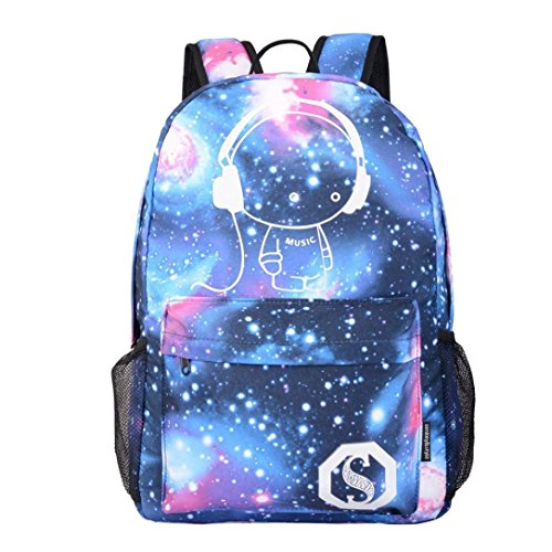 Music : Galaxy School Backpack,VENMO Boys Girls College School Book Bags With Laptop Compartment and Bottle Holder Large Capacity Nylon Backpack Bag For SChool & Travel, 30*14*45cm (Music)