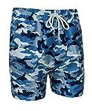 Evoga Costume da Bagno Uomo Militare Mimetico Camouflage Pantaloncino Shorts Bermuda Mare (XXL, Blu)