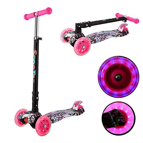 Kinder Roller Scooter 3 Räder Höhenverstellbarer Kinderroller mit LED Leuchträdern Rollen und Verstellbare Lenker für Kleinkinder, Mädchen oder Jungen ab 3 Jahren (Farbe 6)