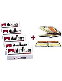Marlboro - 1000 casquillos de filtro rojo + caja o estuche para cigarrillos a elegir