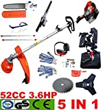 PROGEN POWERFUL 52CC 5 IN 1 PETROL SPLIT SHAFT STRIMMER GARDEN GRASS TRIMMER BRUSHCUTTER HEDGE TRIMMER CHAINSAW WITH FREE GIFTS