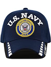 26d43433ae4 The Hat Depot Official Licensed 3D Embroidered Military One Size Cap (Navy  Line-U.S.
