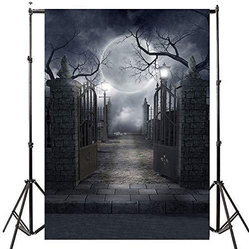 5x7ft Fotografie Hintergrund Halloween Horror Night Moon Metall Tor Brick Boden Hintergründen...