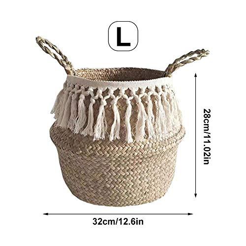 voloki Lange Quaste Makramee natürliche Seegras Weidenkorb Pflanze Blumen Töpfe Baumwolle Seil Faden schmutzig Korb Lagerung Dekoration -