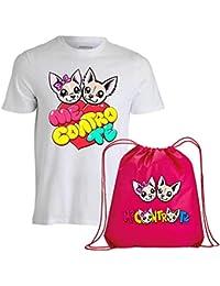 T-Shirt Maglietta Cotone + Sacca Fucsia Me Contro Te Replica -Sofi e Lui- Kira e Ray- novità !