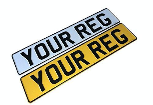 Set of PRESSED NUMBER PLATES Metal Car Registration Plate Embossed Reg 3D ROAD LEGAL Front & Rear …
