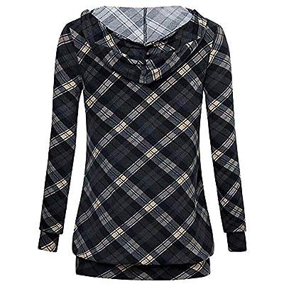 TWBB Pullover Hoodie Damen Mantel Gitter Drucken Herbst Winter Kordelzug Sweatshirts Kapuzenpullover Kapuzenjacke Bluse Oberteile
