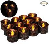 Sahalo 12 Teile Flammenlose Schwarze Kerzen LED Teelichter Windlicht Kerzenleuchter Kerzenhalter Gartenlaterne