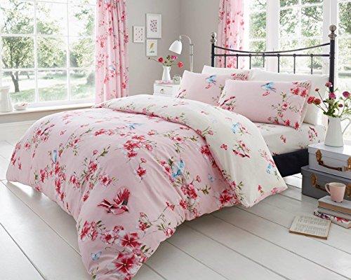 Gaveno Cavailia Kuscheliges Birdie Blossom Bettwäsche-Set mit Bettbezug und Kissen, Polyester-, Pink, King (Blossom Bettwäsche-set)