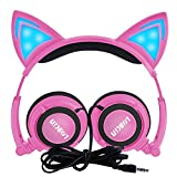 Kids Headphones with Cat Ear,Lobkin Wired Headphones Over Ear for Children,Foldable Headphone with Glowing Light for Kindle Fire, Samsung, iPad Tablets