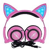 LOBKIN Auriculares con orejas de gato Cosplay.Auriculares para niños , que destellan y brillan intensamente. Almohadillas plegables con luz LED , compatible para el iPhone 6S y teléfono Android (rosado)