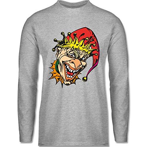 Shirtracer Karneval & Fasching - Clown - Joker - Herren Langarmshirt Grau Meliert